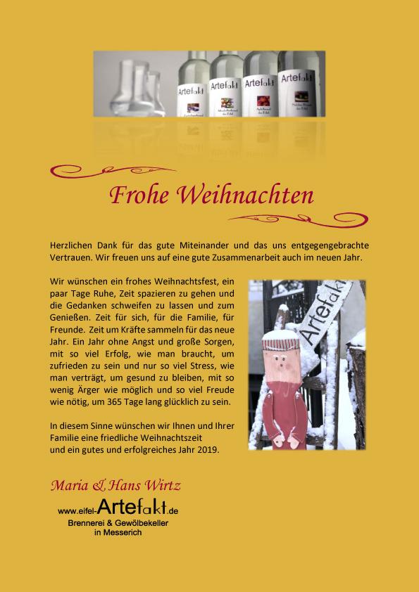 In Diesem Sinne Frohe Weihnachten.Frohe Weihnachten Brennerei Gewölbekeller Maria Und Hans Wirtz